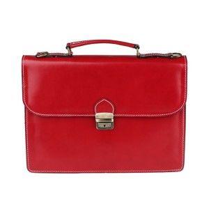 Červená kožená taška Chicca Borse Irene