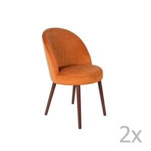 Sada 2 oranžových židlí Dutchbone Barbara