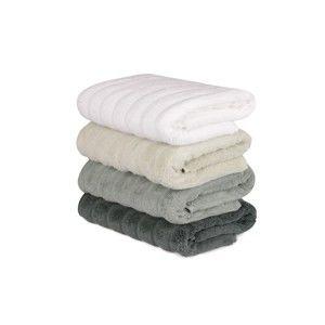 Sada 4 zeleno-bílých bavlněných ručníků Sofia, 50 x 90 cm