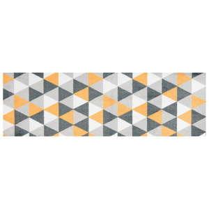 Žlutě vzorovaný běhoun White Label Geo, 70 x 50 cm