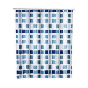 Modrý sprchový závěs Wenko Mosaic, 180x200cm