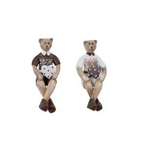Dřevěná dekorace ve tvaru medvídka Ego Dekora, výška 11,3 cm
