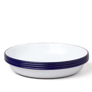 Sada 4 modro-bílých smaltovaných polévkových talířů Falcon Enamelware