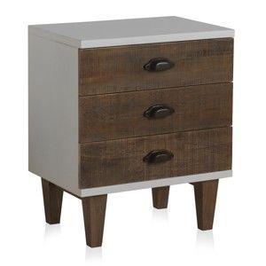 Bílý noční stolek se 3 zásuvkami Geese Rustic