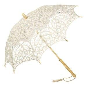 Krémový holový deštník Von Lilienfeld Lace Vivienne, ø 75 cm