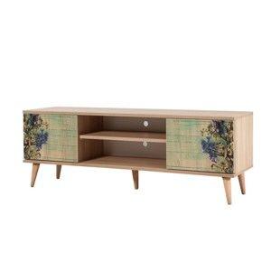 Dřevěný TV stolek Fokas Flowers