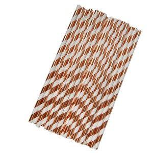 Sada 25 papírových brček v barvě růžového zlata Neviti Geo Blush