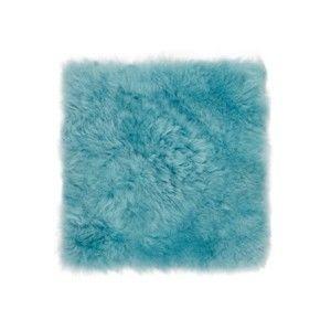 Mentolově modrý kožešinový podsedák s dlouhým chlupem Arctic Fur Eglé, 37x37cm
