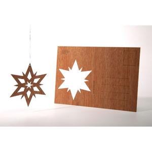 Dřevěná pohlednice Formes Berlin Dvojhvězda, 14,8 x 10,5 cm