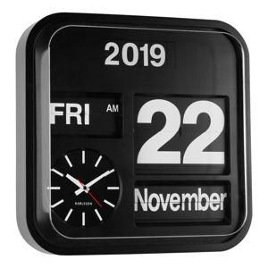 Černé nástěnné hodiny Karlsson Big Flip, 43 x 43 cm