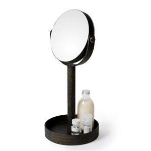 Stolní zrcadlo s poličkou z dubového dřeva Wireworks Magnify Dark