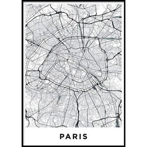 Nástěnný obraz MAP/PARIS/NO2, 50 x 70 cm