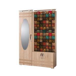 Hnědá předsíňová stěna se zrcadlem Síhirlí Square, výška 195 cm