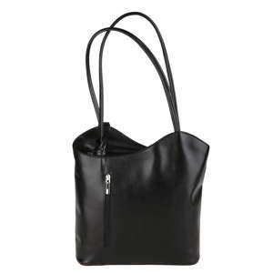 Černá kožená kabelka Chicca Borse Muliya