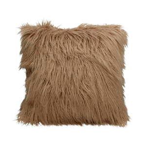 Tmavě béžový chlupatý polštář HF Living Fluffy, 45x45cm
