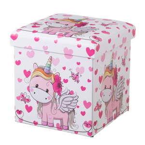 Růžový dětský puf s úložným prostorem Unimasa Uni