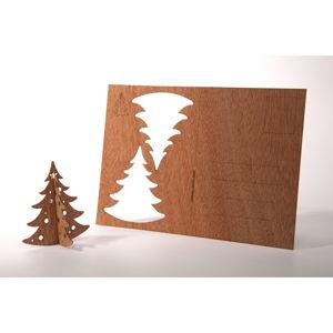 Dřevěná pohlednice Formes Berlin Jedlička, 14,8 x 10,5 cm