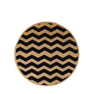 Kulatá rohožka z přírodního kokosového vlákna Artsy Doormats Chevron, ⌀70cm