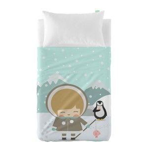 Set prostěradla a povlaku na polštář z čisté bavlny Happynois Skymo Day, 120 x 180 cm