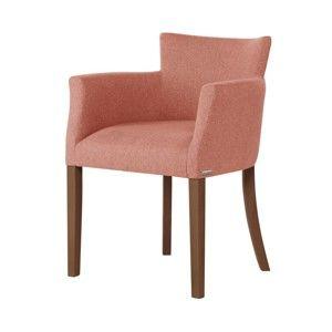 Růžová židle s tmavě hnědými nohami z bukového dřeva Ted Lapidus Maison Santal