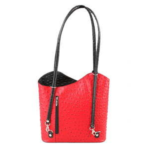 Červeno-černá kožená kabelka Chicca Borse Parona