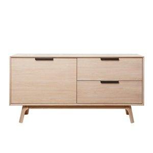 Nízká komoda z bílého dubového dřeva s 2 dvířky Unique Furniture Vivara