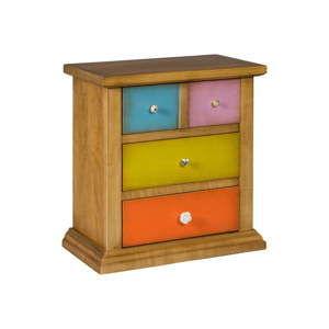Hnědá komoda s barevnými zásuvkami Evergreen House Specific