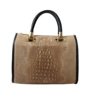 Béžová kožená kabelka Chicca Borse Caressia
