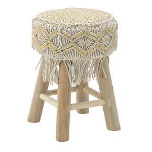 Béžová stolička zbavlny aeukalyptového dřeva InArt Macrame, ⌀30cm