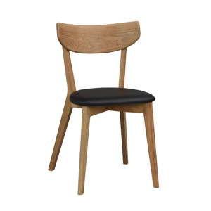 Hnědá dubová jídelní židle s černým sedákem Folke Ami