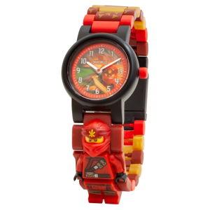 Červené náramkové hodinky se skládacím řemínkem a minifigurkou LEGO® NINJAGO Kai