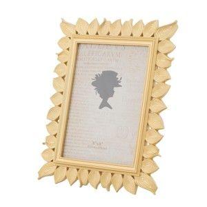 Žlutý fotorámeček v pryskyřicovém rámu Mauro Ferretti Leaf Glam, 15 x 20 cm