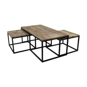 Sada 3 konferenčních stolků z mangového dřeva HSMcollection Salon