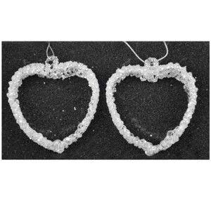 Sada 2 skleněných bílých ozdob ve tvaru srdce Ego Dekor, šířka7,5cm