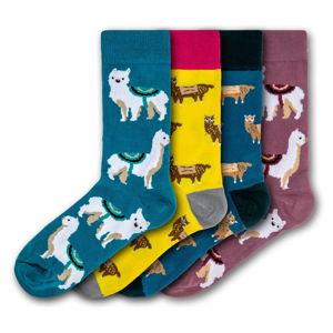 Sada 4 párů barevných ponožek Funky Steps Llamas, velikost 35 - 39 a 41 - 45