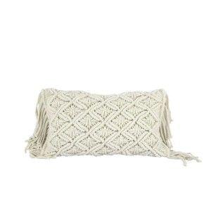 Krémově bílý bavlněný povlak na polštář HF Living Macramé, 50x30cm