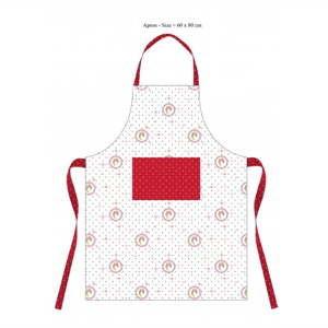 Bíločervená bavlněná kuchyňská zástěra HOME ELEMENTS De Campagne