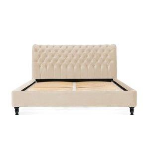 Béžová postel z bukového dřeva s černými nohami Vivonita Allon, 180 x 200 cm