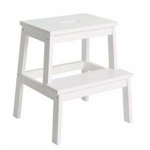 Bílá dubová stolička/schůdky Folke Nanna