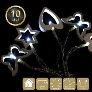 Světelný řetěz s 10 bílými LED světélky Unimasa Mix