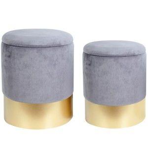 Sada 2 šedých stoliček s úložným prostorem Le Studio Velvet