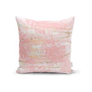 Povlak na polštář Minimalist Cushion Covers Pink Leafes Brush, 45 x 45 cm