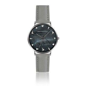 Dámské hodinky s šedým páskem z pravé kůže Emily Westwood Noir