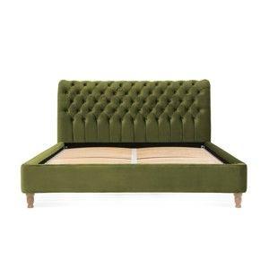 Olivově zelená postel z bukového dřeva Vivonita Allon, 140 x 200 cm