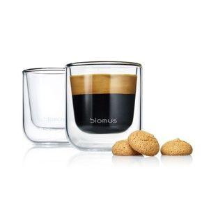 Sada 2 dvojitých šálků na espresso Blomus Nero, 80ml