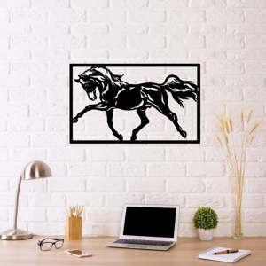 Černá kovová nástěnná dekorace Horse Two, 70 x 50 cm