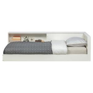 Bílá jednolůžková postel zborovicového dřeva WOOOD Connect