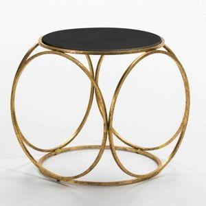 Odkládací stolek s žulovou deskou a konstrukcí ve zlaté barvě Thai Natura, ⌀52cm