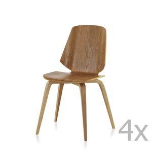 Sada 4 jídelních židlí Geese Natural