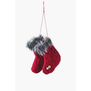 Červená vlněná závěsná ozdoba ve tvaru punčoch Ego Dekor